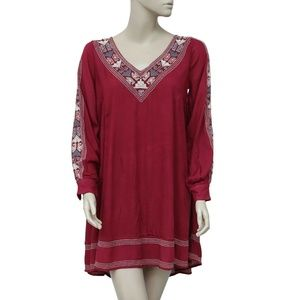 Abercrombie & Fitch Embroidered Maroon Dress XS